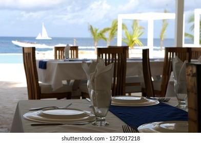 caribbean restaurant and seascape
