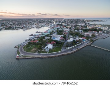 Caribbean Sea and Belize Cityscape