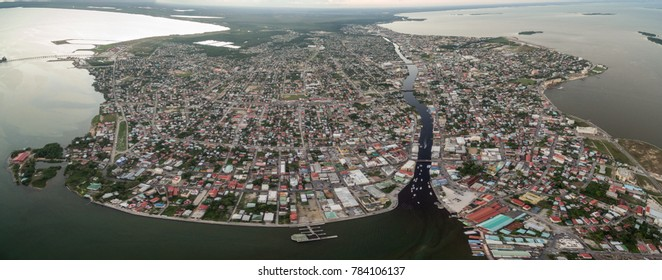 Caribbean Sea and Belize Cityscape. Panorama photo