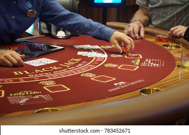 CARIBBEAN SEA - DEC 20, 2017 - Blackjack table in the casino on a cruise ship in the  Caribbean Sea