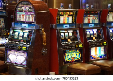 CARIBBEAN SEA - DEC 20, 2017 - Slot machines  in the casino on a cruise ship in the  Caribbean Sea