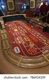 CARIBBEAN SEA - DEC 20, 2017 - Craps table of the casino in   a cruise ship in the  Caribbean Sea