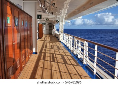 CARIBBEAN SEA - FEBRUARY 17, 2014 : Crown Princess ship open deck. Crown Princess is a Grand-class cruise ship owned by Princess Cruises