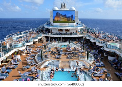 CARIBBEAN SEA - JANUARY, 2017:  An aerial view of a cruise ship pool area.