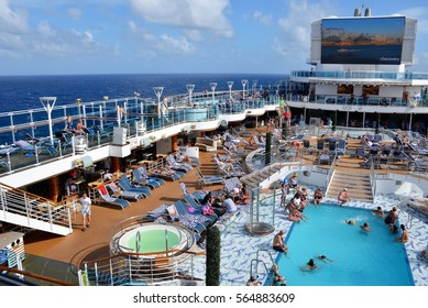 CARIBBEAN SEA - JANUARY, 2017:  The crowded outdoor area of a cruise ship.