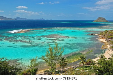 Caribbean sea lagoon on the coast of Union island