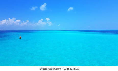 Caribbean sea, so many different shades of azure color like nowhere else. Mexico, Cancun
