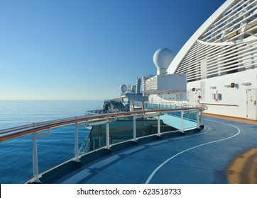 CARIBBEAN SEA - MARCH 28, 2017 : Jogging track on open deck of Royal Princess ship. Royal Princess is operated by Princess Cruises line and has a capacity of 3600 passengers
