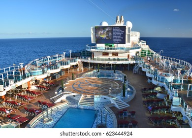 CARIBBEAN SEA - MARCH 29, 2017 : Open deck of Royal Princess ship. Royal Princess is operated by Princess Cruises line and has a capacity of 3600 passengers
