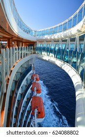 CARIBBEAN SEA - MARCH 30, 2017 : Glass floor seawalk over the sea on Royal Princess ship. Royal Princess is operated by Princess Cruises line and has a capacity of 3600 passengers