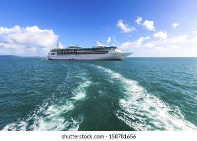 CARIBBEAN SEA - MAY 4: Passengers on Royal Caribbean begin cruise on May 4 , 2010. The cruise liner  is one of the best and  highly successful Conquest class.
