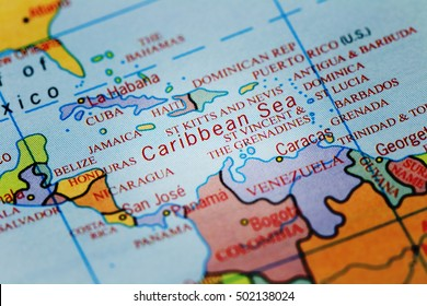 Caribbean Sea on colourful map with spot light effect