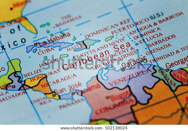 Caribbean Sea On Colourful Map Spot Stock Photo (Edit Now) 502138024