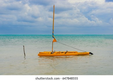 Caribbean Sea picturesque landscape with catamaran as viewTed from Caye Caulker island in Belize. It is a small island near Ambergris Caye.