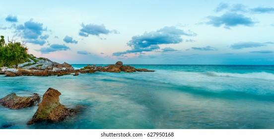 Caribbean Sea at sunset. Yucatan, Mexico.
