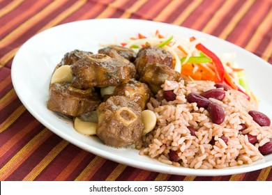 Caribbean style curried Oxtail served with rice mixed with red kidney beans. Dish accompanied with vegetable salad. Shallow DOF.