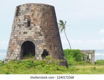Caribbean sugar kiln  near Caribbean Sea used for for sugar refinery and production.