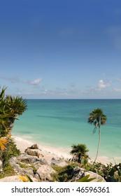 Caribbean turquoise sea view in Tulum Mexico