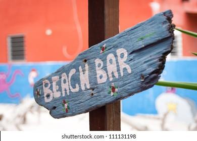 Caribbean wooden beach bar sign