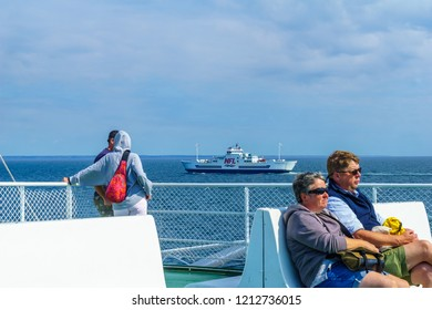 Caribou, Canada - September 17, 2018: Scene of the ferry line, from The Wood Islands (Prince Edward Island) to Caribou (Nova Scotia), with passengers. Canada