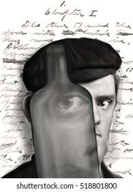 """Caricature of American novelist Jack London, looking through an empty liquor bottle in front of the manuscript of """"Martin Eden""""  on the occasion of the 100th anniversary of his death (22.11.2016)."""