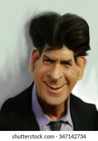 Caricature of Charlie Sheen.