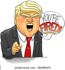 """A caricature of Donald Trump delivering his famous catchphrase, """"You're fired!"""""""