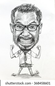 Caricature drawing of man,big head with small body, by charcoal pencil on white paper