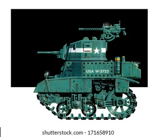 Caricature illustration of a battle-worn World War 2 U.S. Army M3 Light Tank in green camouflage paint set against a black foil.