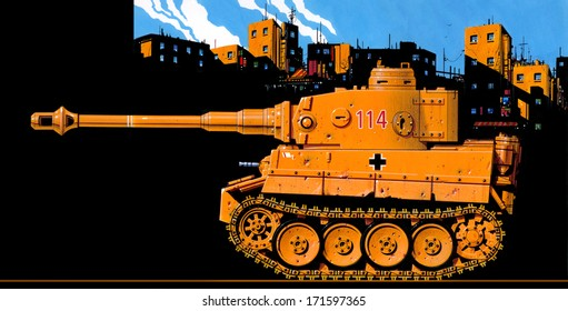 Caricature illustration profile of a sand-colored World War 2 German Tiger 1 tank deployed in a black-shadowed North African village.