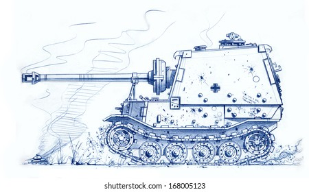 Caricature illustration of a WW2 German Sd Kfz184 Elefant Self-propelled Assault Gun advancing at the Battle of Kursk, Russia 1943.