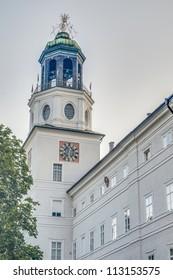 Carillion (Glockenspiel) located between Mozart Square (Mozartplatz) and Cathedral Square (Domplatz) at Salzburg, Austria