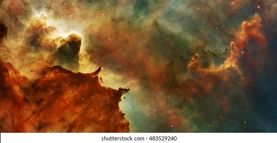 Carina Nebula Details Great Clouds, Elements of this image are furnished by NASA.