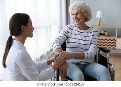Caring female nurse caregiver hold hand support disabled elder woman patient sit on wheelchair at home hospital, young doctor carer help paralyzed old granny on wheel chair, senior homecare concept