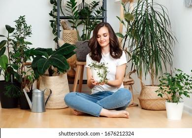 Pflege von Hauspflanzen. Schönes Mädchen in ungezwungenen Kleidung sitzend auf dem Boden des Hauses, hält einen Topf mit einer Pflanze