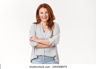 Caring lovely happy middle-aged redhead woman cross arms chest smiling joyfully talking lively discuss child grades school teacher grinning laughing have interesting conversation, white background