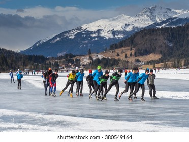 CARINTHIA, AUSTRIA - JANUARY 25: Many skaters skating on the ice in the Alps in Carinthia, 2015