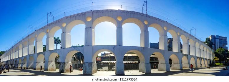 Carioca aqueduct (Arcos da Lapa) in Centro. Rio de Janeiro, Brazil. March 2016.
