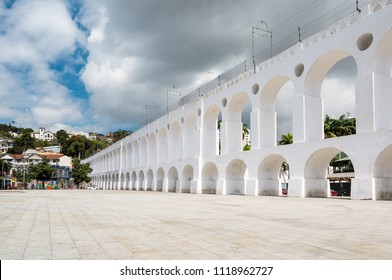 Carioca Aqueduct, an aqueduct in the city of Rio de Janeiro. Since the end of the 19th century the aqueduct serves as a bridge for a popular tram.