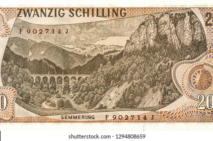 Carl Ritter von Ghega (1802-1860) on 20 schilling 1967 banknote from Austria. Designer of the Semmering Railway from Gloggnitz to Murzzuschlag, Close Up UNC Uncirculated - Collection.