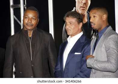 Carl Weathers, Sylvester Stallone and Michael B. Jordan at the Los Angeles premiere of 'Creed' held at the Regency Village Theatre in Westwood, USA on November 19, 2015.