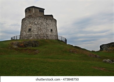Carleton Martello Tower National Historic Site of Canada in cloudy day, Constructed 1813?15 and 1941 as military fortification unit was important for defense of Saint John NB to end Second World War