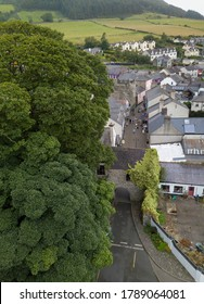 Carlingford old town gate aerial shot. Co. Loith, Ireland. July 2020