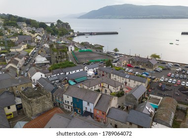 Carlingford town panoramic aerial shot. Co. Louth, Ireland. July 2020
