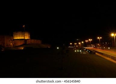 Carlisle Castle at Night, beside Castle Way in Carlisle, Cumbria, England