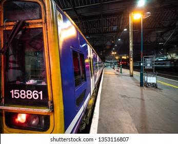 Carlisle, Cumbria / UK - 02 25 2019: train in station at platform platform 4