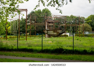 Carlisle, England - 12 June 2019: Urban Adventure Park in Carlisle, Outdoor High Ropes & Zip Line Centre