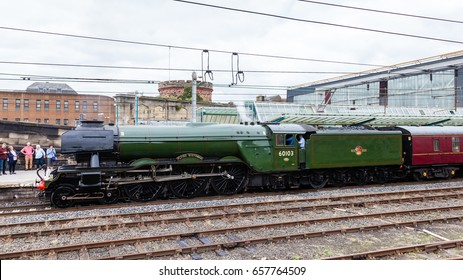 CARLISLE, ENGLAND - AUGUST 14:  The Flying Scotsman, a preserved steam locomotive, is pictured in Carlisle station on August 14, 2016.  The Scotsman was the first locomotive in the UK to reach 100mph.