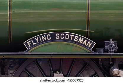 CARLISLE, ENGLAND - JULY 17:  The Flying Scotsman nameplate.  The Flying Scotsman is a preserved steam locomotive and is pictured in Carlisle Citadel station in Cumbria on July 17, 2016.