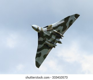CARLISLE, ENGLAND - JUNE 27:  Avro Vulcan XH558 circles Carlisle Airport in Northern England on June 27, 2015 on its Salute the V-Force Tour.  XH558 Avro Vulcan was the world's last flying Vulcan.